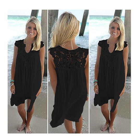 fbea954928 AIDAYOU Sexy Swimwear Covers Lace Bikini Cover up for Beach Fishnet Crochet  Stitching Chiffon Dress (