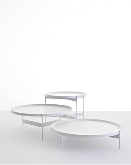 Abaco: Modern Round Coffee/Cocktail Table In White Matte Finish. Portable  Tray.