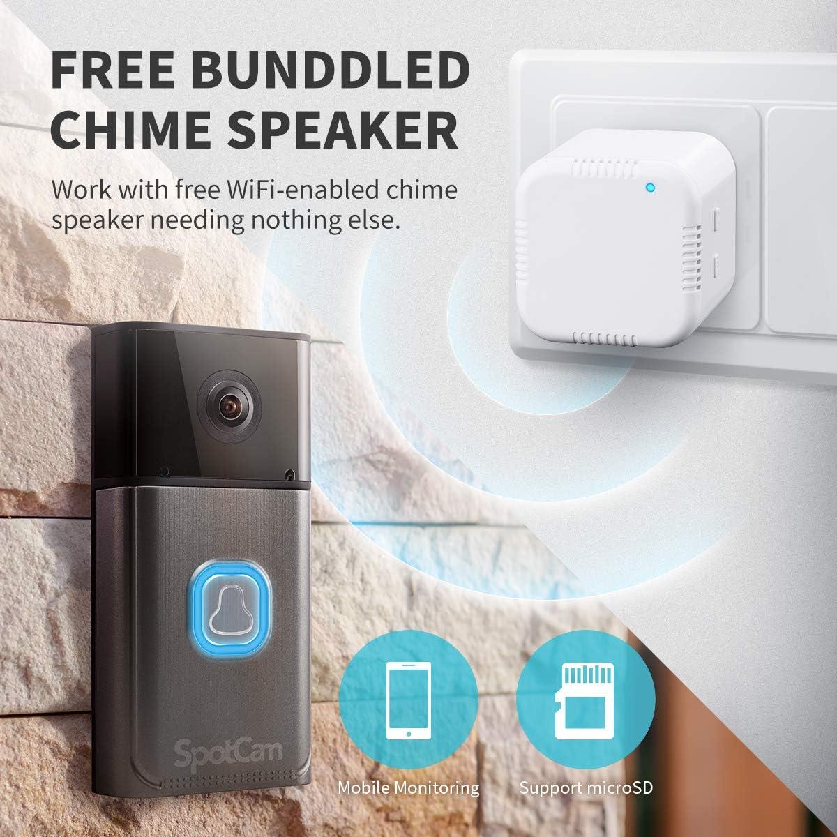 SpotCam Vid/éo Sonnette Compatible avec Alexa//Google Home. aliment/é par Batterie sans Fil FHD 1080P avec 150 degr/é Angle de Vision Wi-FI activ/é
