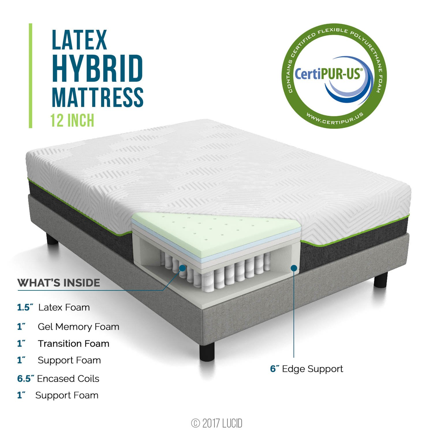 Lucid 12 Inch King Latex Hybrid Mattress Memory Foam