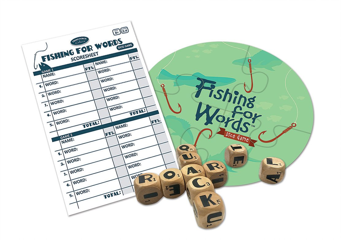 Fishing for Words, Dice Game, Word Game, Travel Game, Family Game, Bar Game, 2 to 4 players, ages 8 and up by University Games