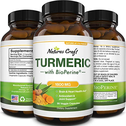 Turmeric Curcumin with Bioperine for Joint Support – Turmeric Supplement Immune System Booster for Detox Cleanse Gut Health and Liver Support – Natural Brain Supplement Turmeric Pills with Bioperine