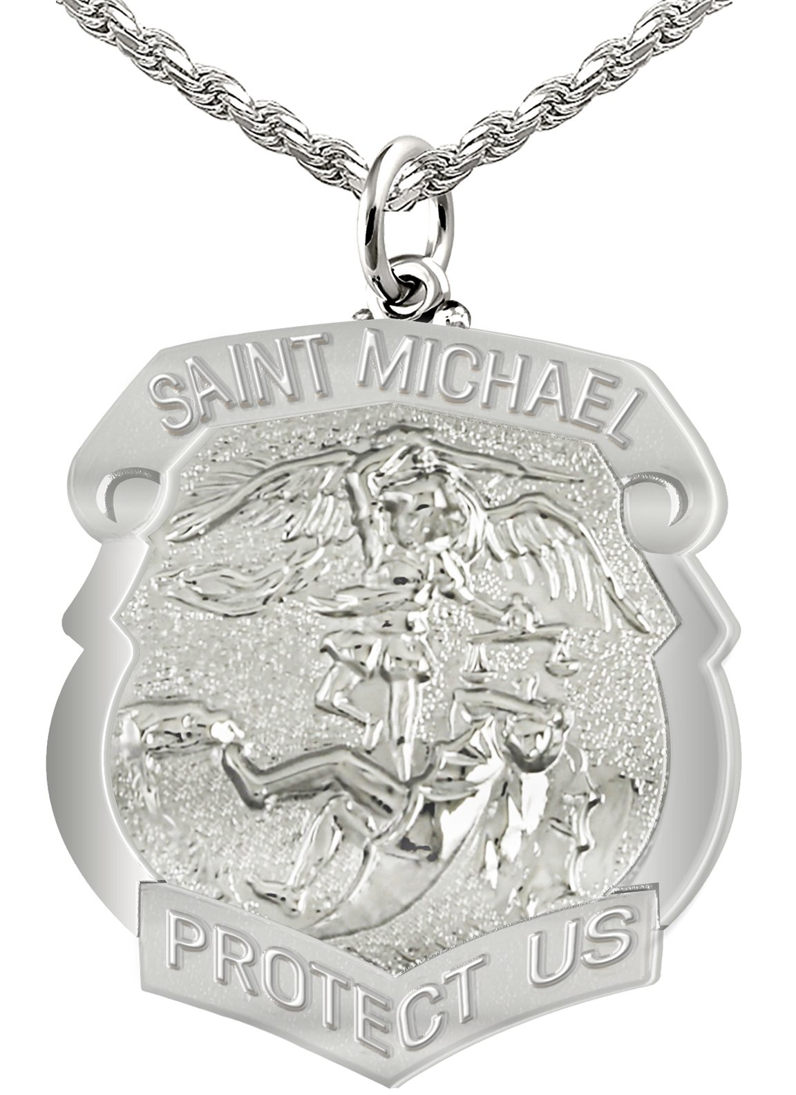 Women's 0.925 Sterling Silver Saint Michael High Polished Shield Badge 0.75in Pendant 1mm Rope Necklace, 18''