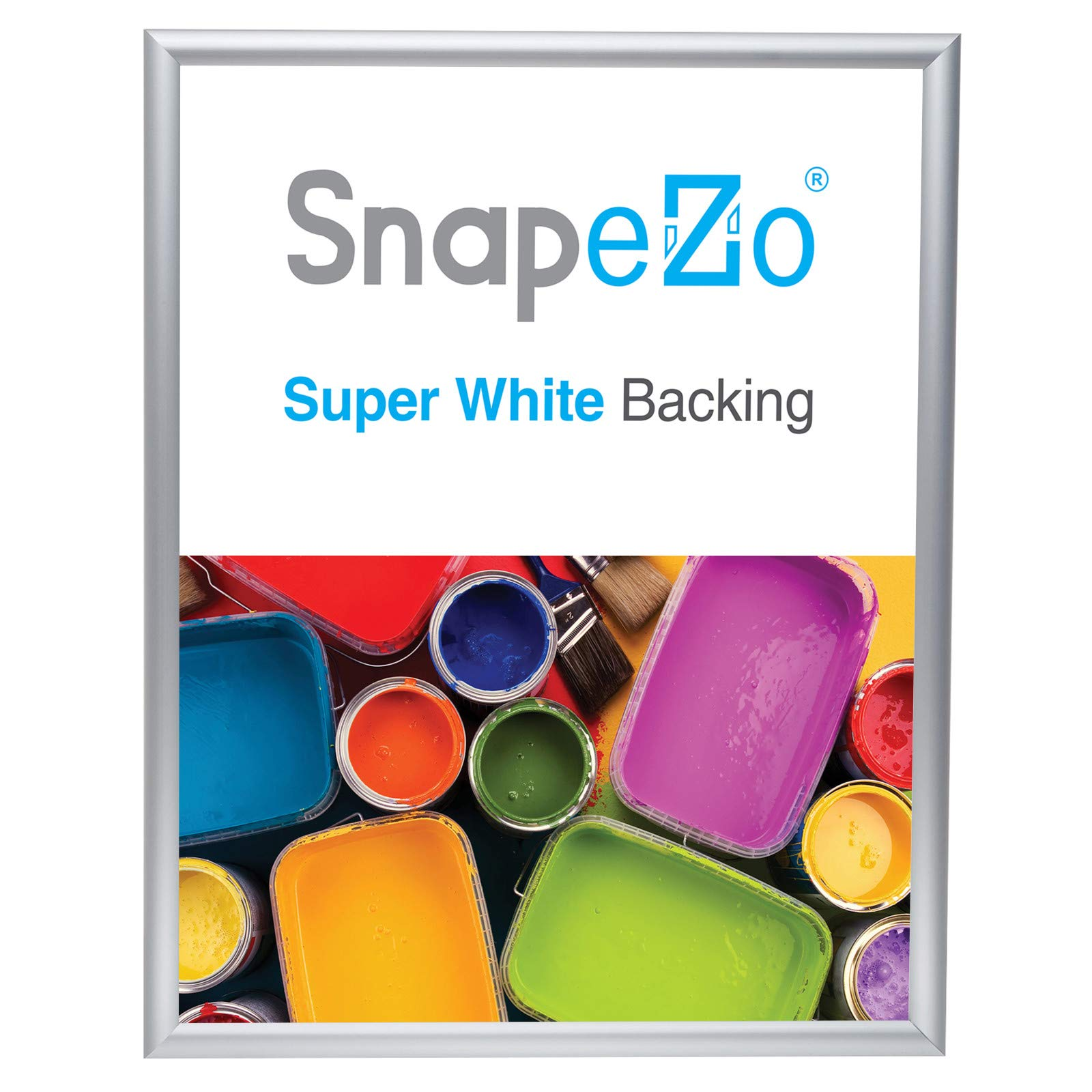 SnapeZo Photo Frame 16x20 Inches, Silver 1 Inch Aluminum Profile, Front-Loading Snap Frame, Wall Mounting, Sleek Series by SnapeZo