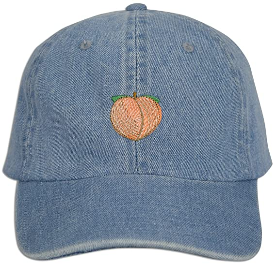 a306157e3ae22 Peach Emoji Embroidered Dad Cap Hat Adjustable Polo Style Unconstructed  (Lt. Blue Denim)