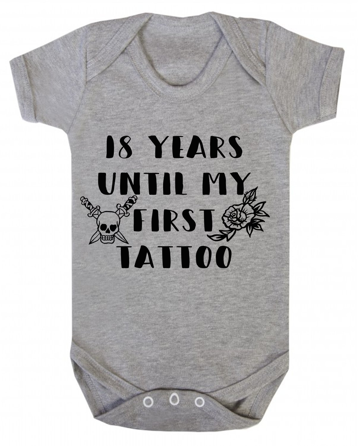 18 Years Until my First Tattoo Baby Vest Babygrow Bodysuit Novelty Rock Baby