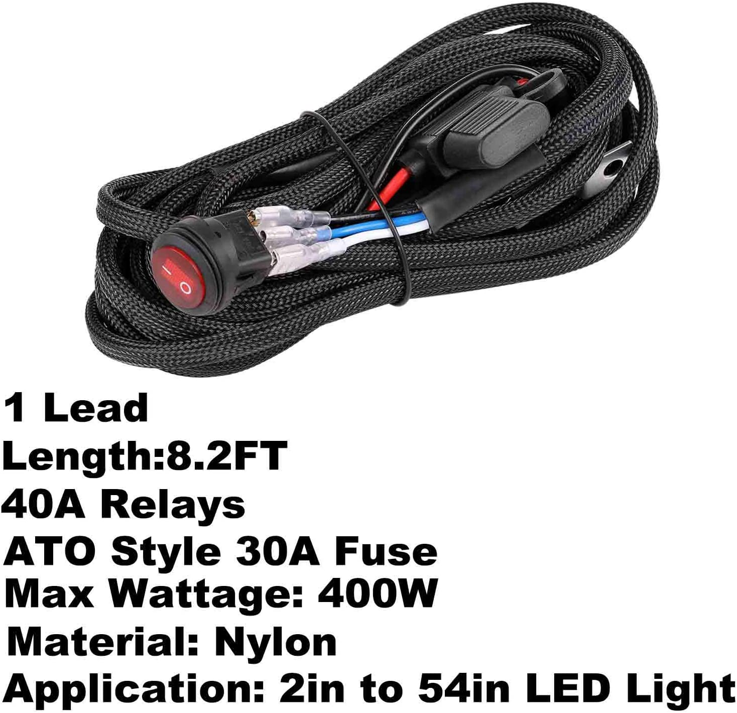 Moso LED 1 Lead Wiring Harness for LED Light Bar Wire Kit for LED Pods 12V 40A On Off Switch Rocker Switch Blade Fuse Power Relay for Truck Jeep UTV AVT Boat Wiring Harness Kit