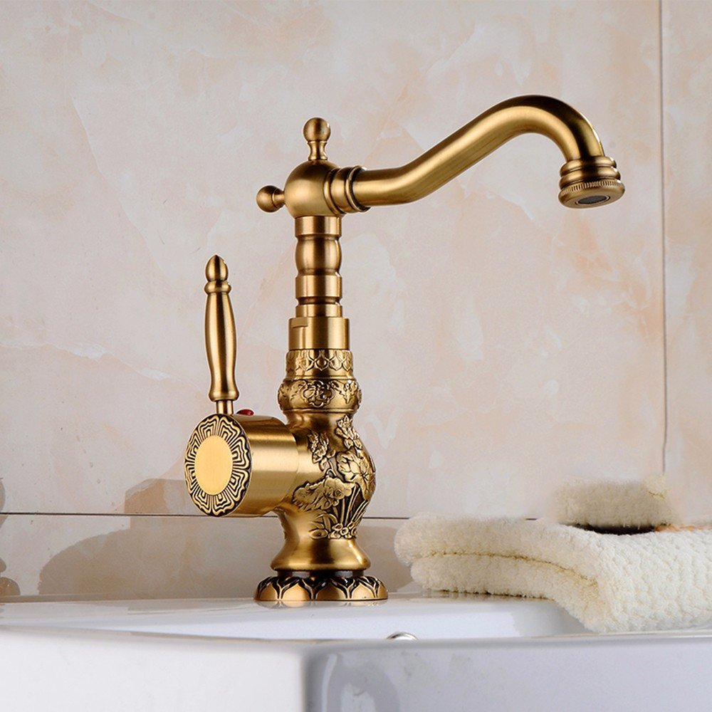 LSRHT Basin Taps Mixer Kitchen Sink Faucet retro style copper hot and cold Single Hole redate Sink mixer Bathroom accessories