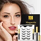 5 Pairs Magnetic Eyelashes with Eyeliner Kit, Including 1 Forceps and 2 Magnetic Eyeliner, Glue Free and Reusable, 3D Magneti
