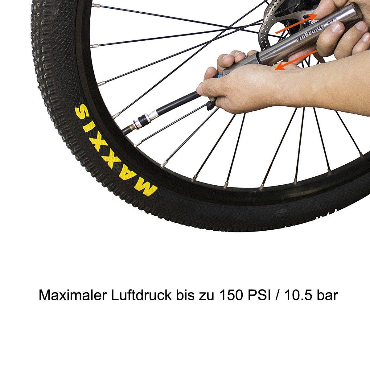 Shinagora Mini Fahrrad Pumpe, Rahmenpumpe Tragbar Kompatibel mit ...