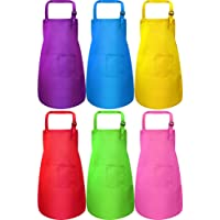 6 Pieces Kids Apron with Pocket Adjustable Children Chef Apron for Baking Painting Cooking (Color 1, Small)