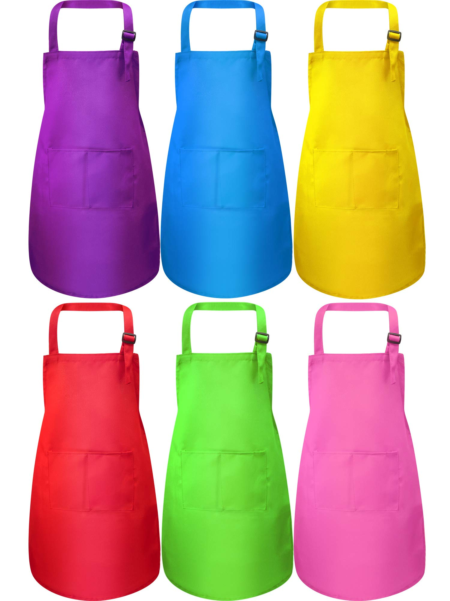 Syhood 6 Pieces Kids Apron with Pocket Adjustable Children Chef Apron for Baking Painting Cooking (Color 1, Large) by Syhood