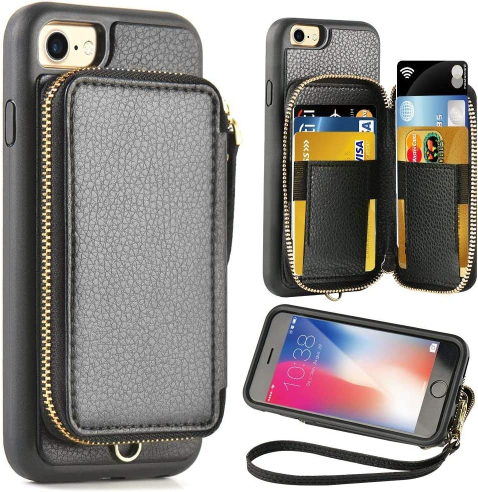 ZVE Case for Apple iPhone 8 and iPhone 7, 4.7 inch, Leather Wallet Case with Credit Card Holder Slot Zipper Wallet Pocket Purse Handbag Wrist Strap Protective Cover for iPhone 8/7/SE(2020) - Black