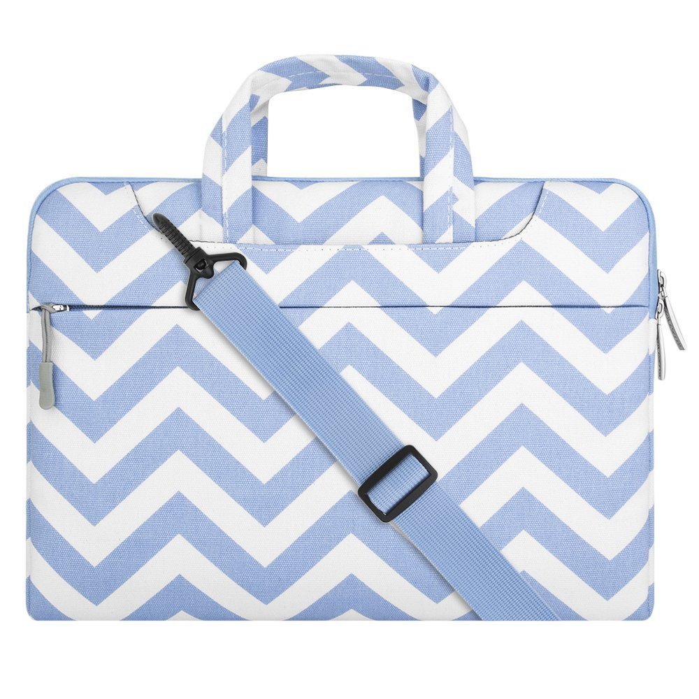 MOSISO 13-13,3 Pouces Housse MacBook Air 13 / 12,9 iPad Pro,Sac à Bandoulière Chevron Style Ultraportable Sac à Main en Tissu Toile pour 13-13,3 Ordinateur Portable / MacBook Pro 13 / MacBook pro retina 13, Rose EU-13-Chevron-Shoulder-Pink