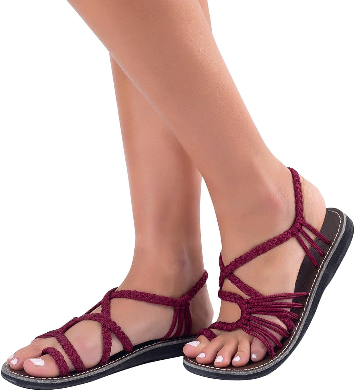ORANDESIGNE Sandales Femme Tress/ée Sandales Femmes Chaussures de Plage Plats Boh/ême Clip Toe Herringbone Flip Flops