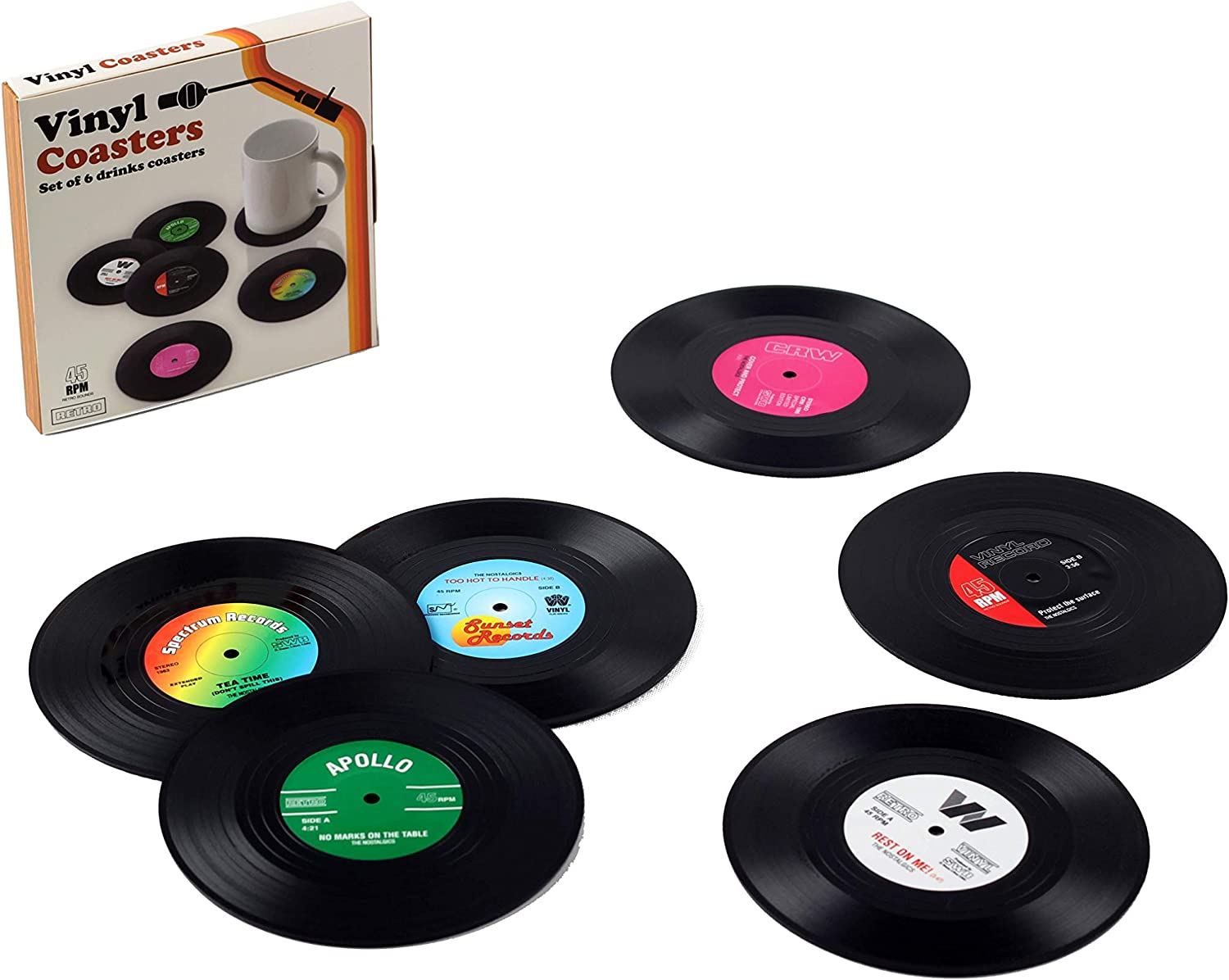 Dvin Vinyl Record Coasters for Drinks Colorful Retro Decoration for Home/Office/Bar Funny House Warming Gift for Music Lovers Set of 6