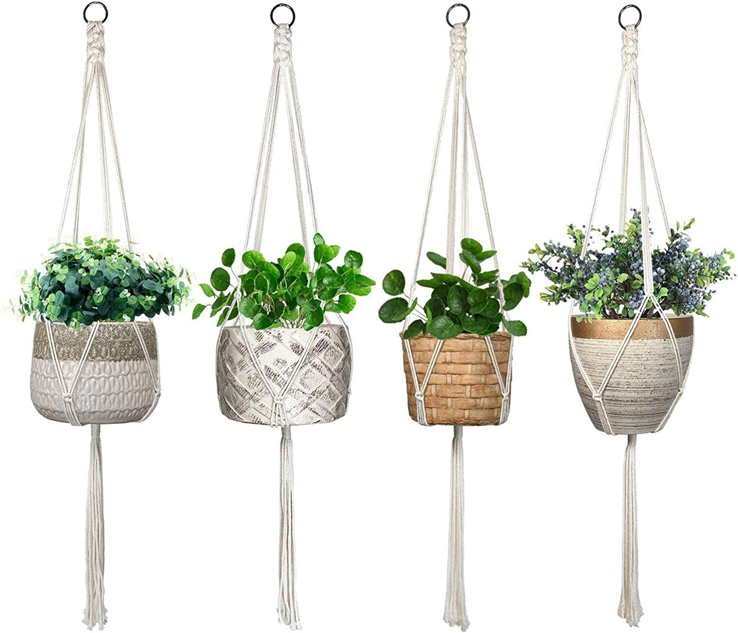 4Pcs Macrame Rope Plant Hanger Basket Flower Pot Hanging Holder Garden Decor US~
