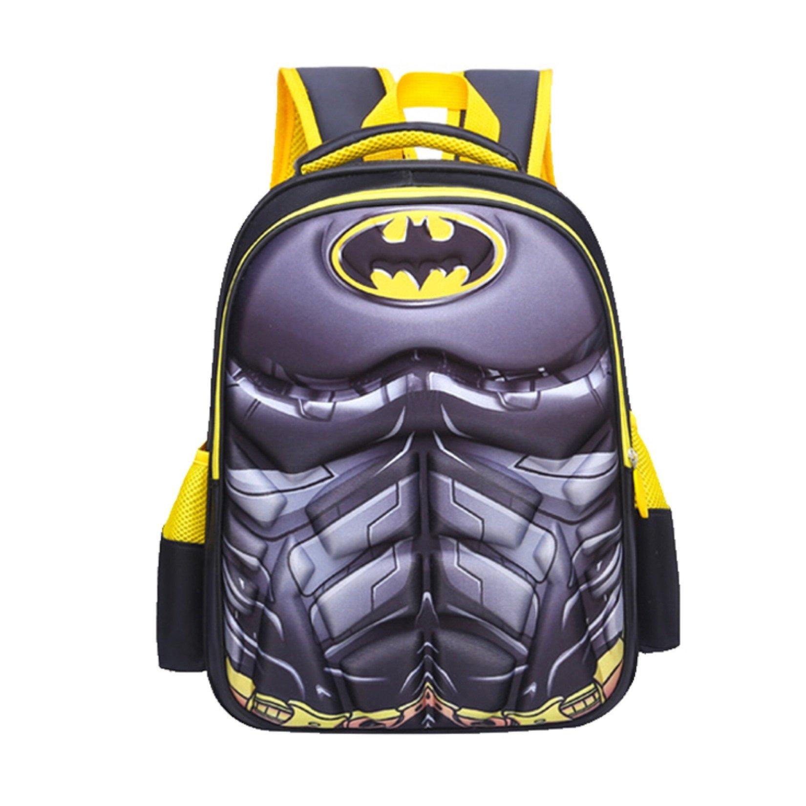 Superhero Boys' 3D School Backpack,16.5 Inch, Waterproof Bookbag for Kids Age 7 to 12 Years Old (Batman)