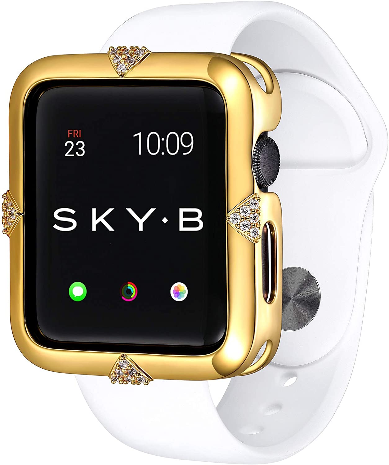 SKYB Pave Points Yellow Gold Protective Jewelry Case for Apple Watch Series 1, 2, 3, 4, 5 Devices - 40mm