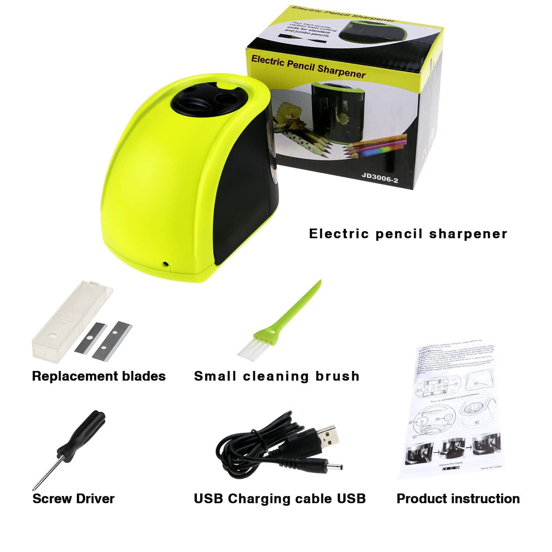 scuola e casa Bearbro Temperamatite elettrico,temperamatite automatico professionale,Alimentato da USB o Batteria con 2 Fori Supporto Matite e Pennello Pulito,per uffico