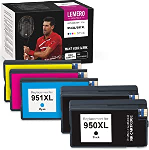 LemeroUexpect Compatible Ink Cartridge Replacement for HP 951 XL 950 XL 951XL 950XL for Officejet 8600 8610 8620 8630 251DW 276DW Printer (2 Black, 1 Cyan, 1 Magenta, 1 Yellow, 5-Pack)