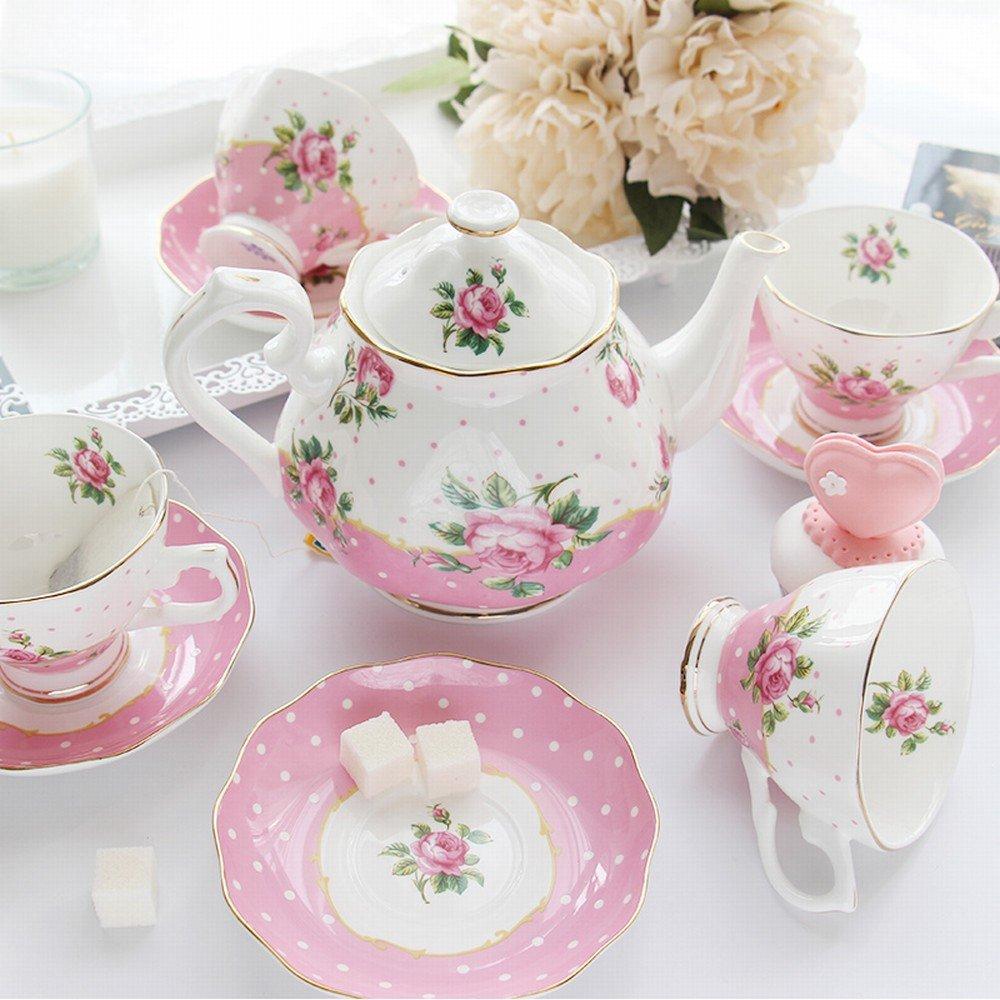 DHG European Coffee Cup Set Coffee Set Household Ceramics Red Tea Cup Bone China English Afternoon Tea Tea Set,A