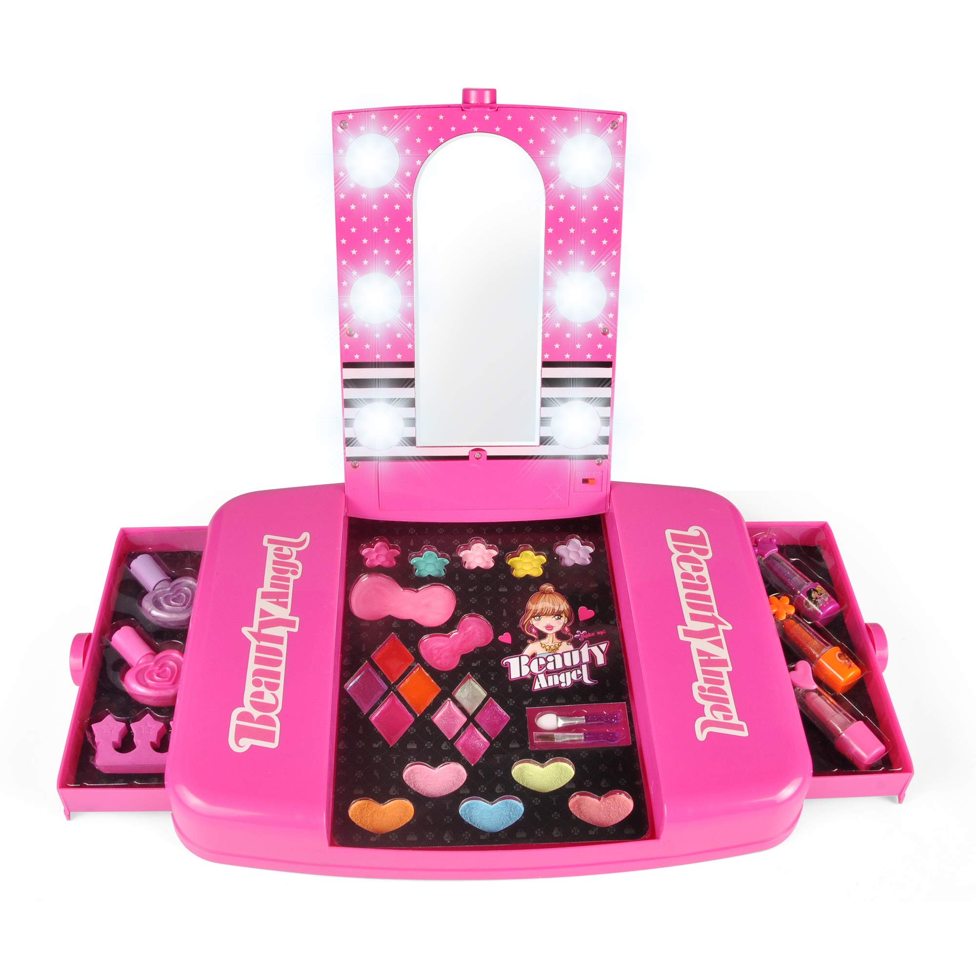 Liberty Imports Princess Girls All-in-One Deluxe Cosmetics Play Set | Palette Vanity with Mirror | Washable & Non Toxic Makeup Kit | Ideal Gift for Kids (Deluxe)