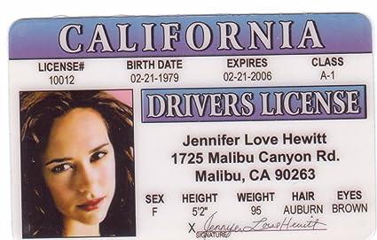 Amazon com: Jennifer Love Hewitt Novelty Drivers License