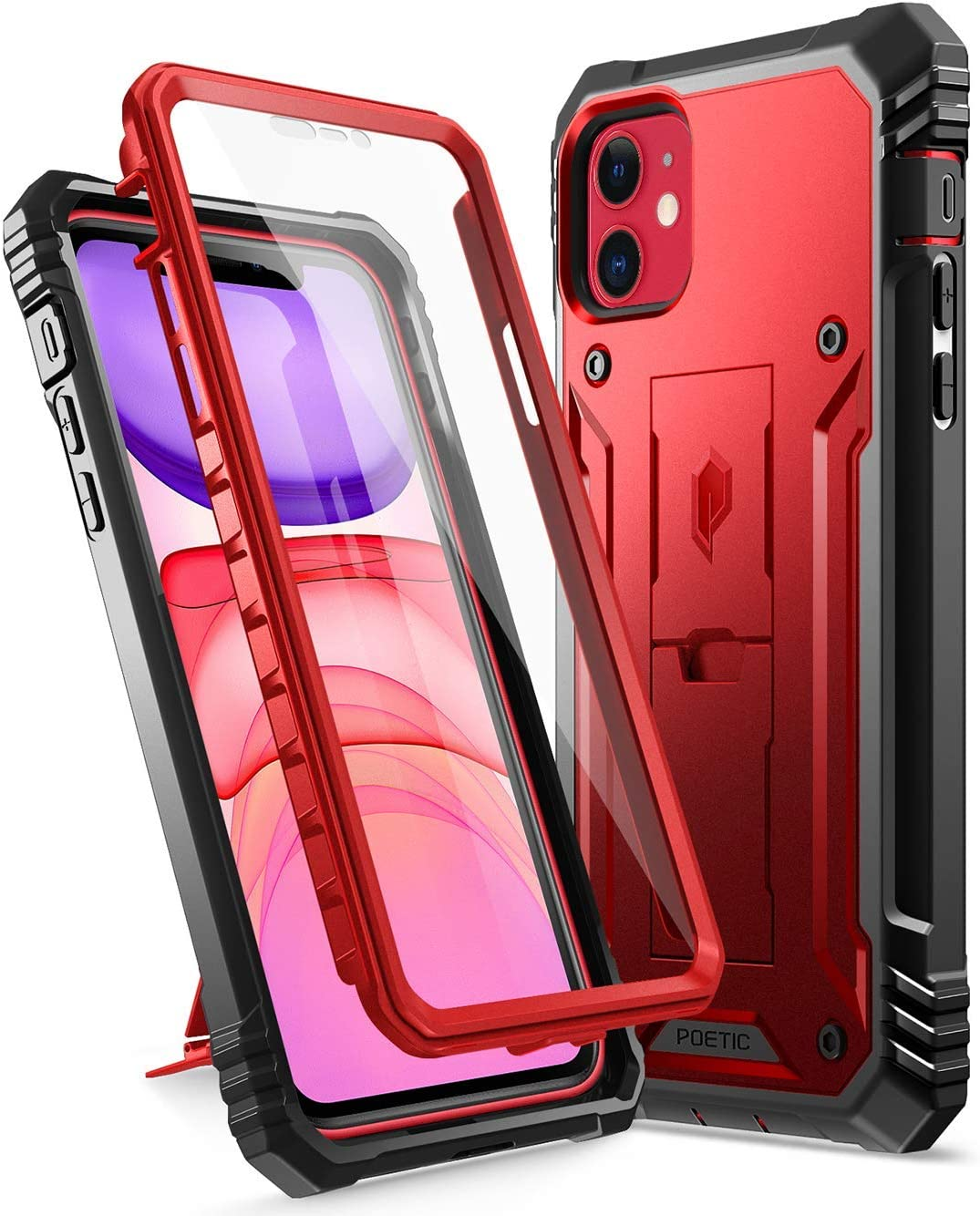 iPhone 11 Rugged Case with Kickstand, Poetic Full-Body Dual-Layer Shockproof Protective Cover, Built-in-Screen Protector, Revolution Series, for Apple iPhone 11 (2019) 6.1 Inch, Metallic Red
