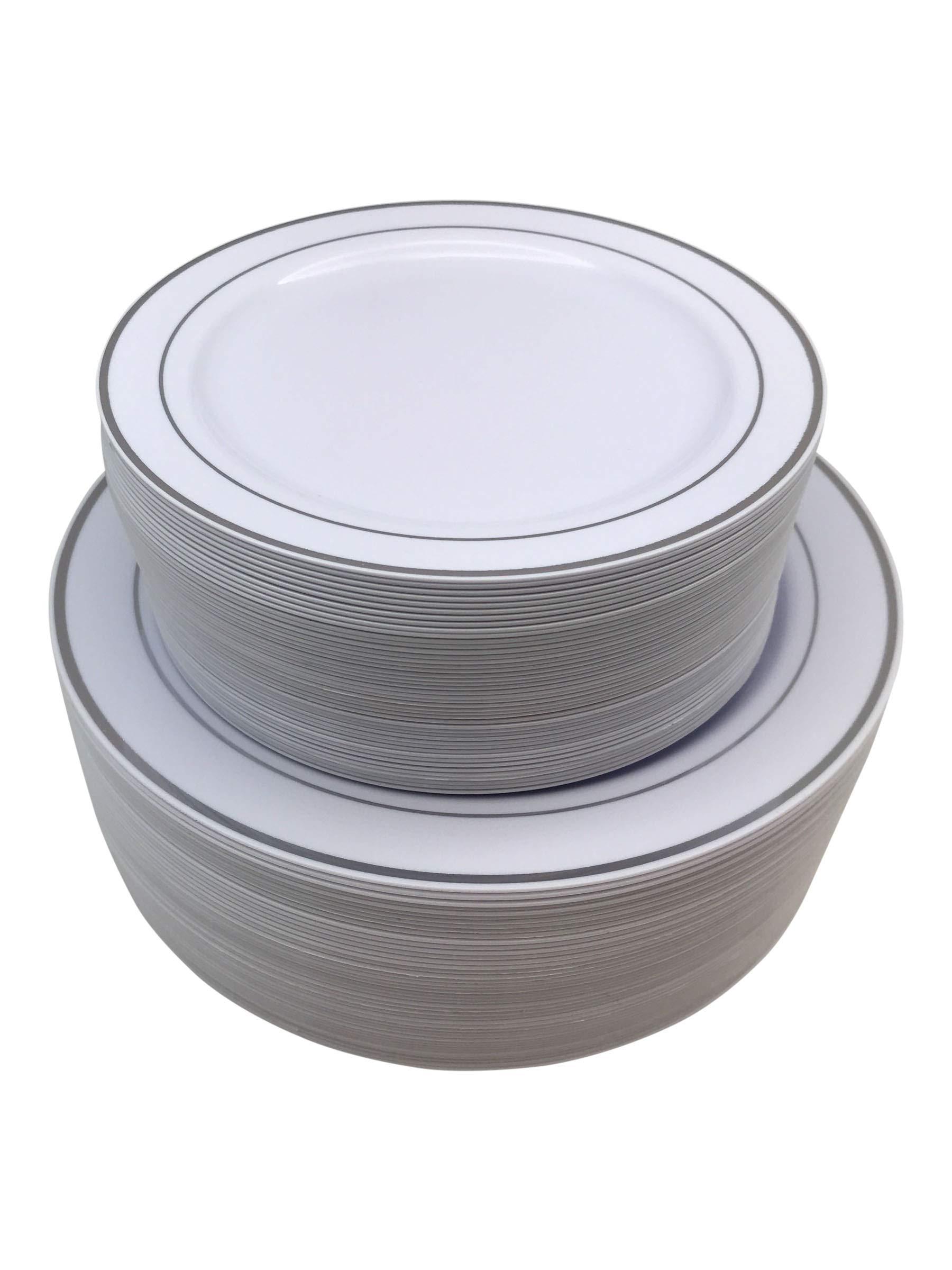 90 Piece Silver Rimmed Premium Disposable Plastic