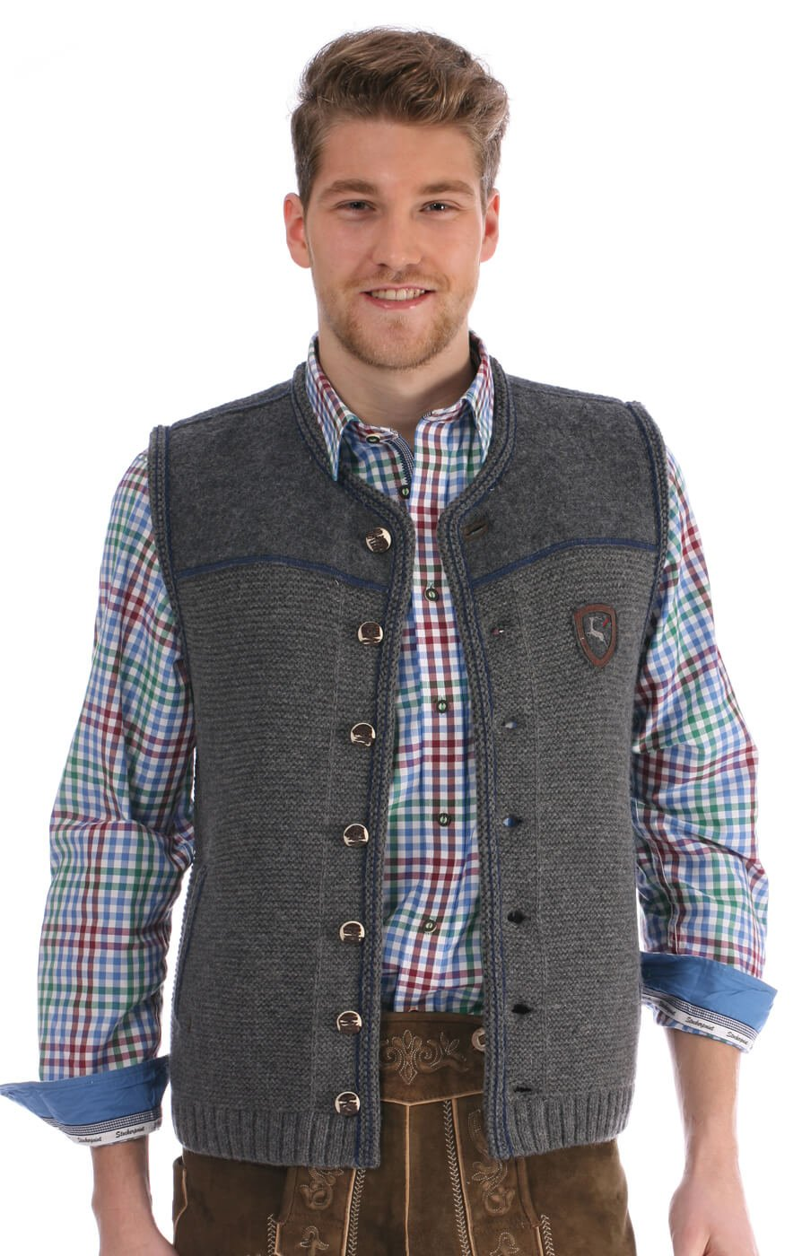German knitted waistcoat Ramsau SW grey-denimblue