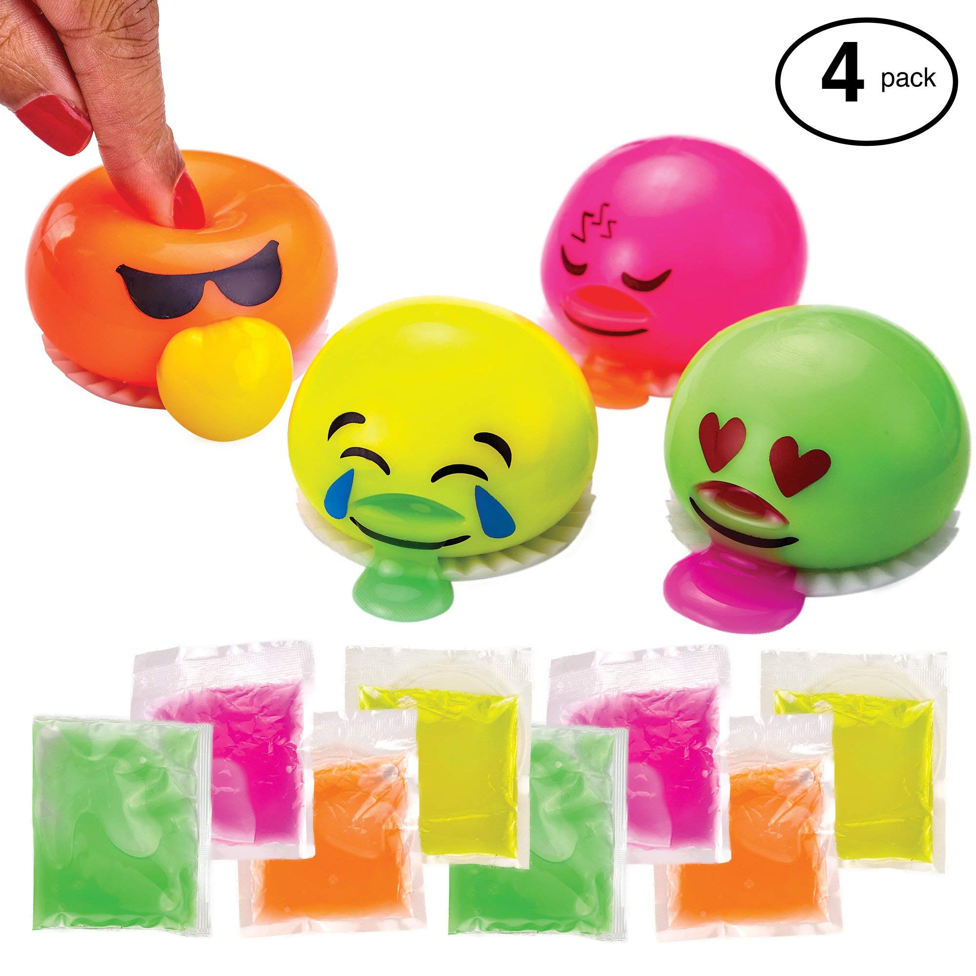 ChefSlime Emoji Slime Spitting Putty Squeezer | Soft & Squishy Stress Relief Party Favor | Trick Toy - Pack of 4 Emoji Slimes for Kids and Adults