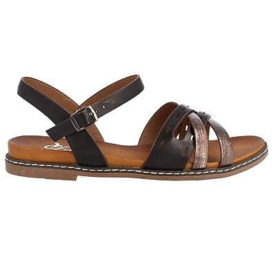 Sandales Avec Plates Et Bout Femme Bandes Croisees Ouvert Ajourees mNnwv80