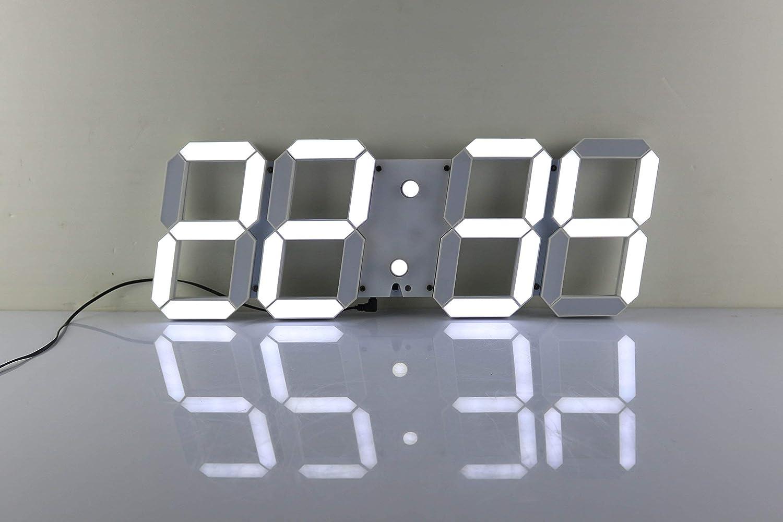 Reloj de pared LED grande con control remoto Jumbo Números más grandes Reloj despertador de diseño 3D con termómetro, calendario, repetición, alarma, cuenta regresiva, horas / minutos - Pantalla LED