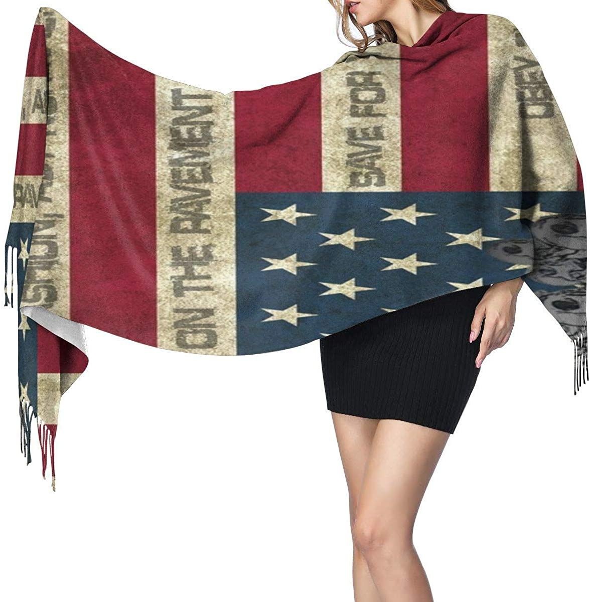 Skull And America Flag Warm Soft Cashmere Shawl Wrap Scarves Long Scarves For Women Office Worker Travel