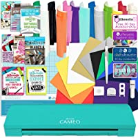 Silhouette Teal Cameo 3 Bluetooth Starter Bundle with 12-12x12 Oracal 651 Sheets, 12-12x15 Siser Easyweed Heat Transfer Sheets, Online Class, and More