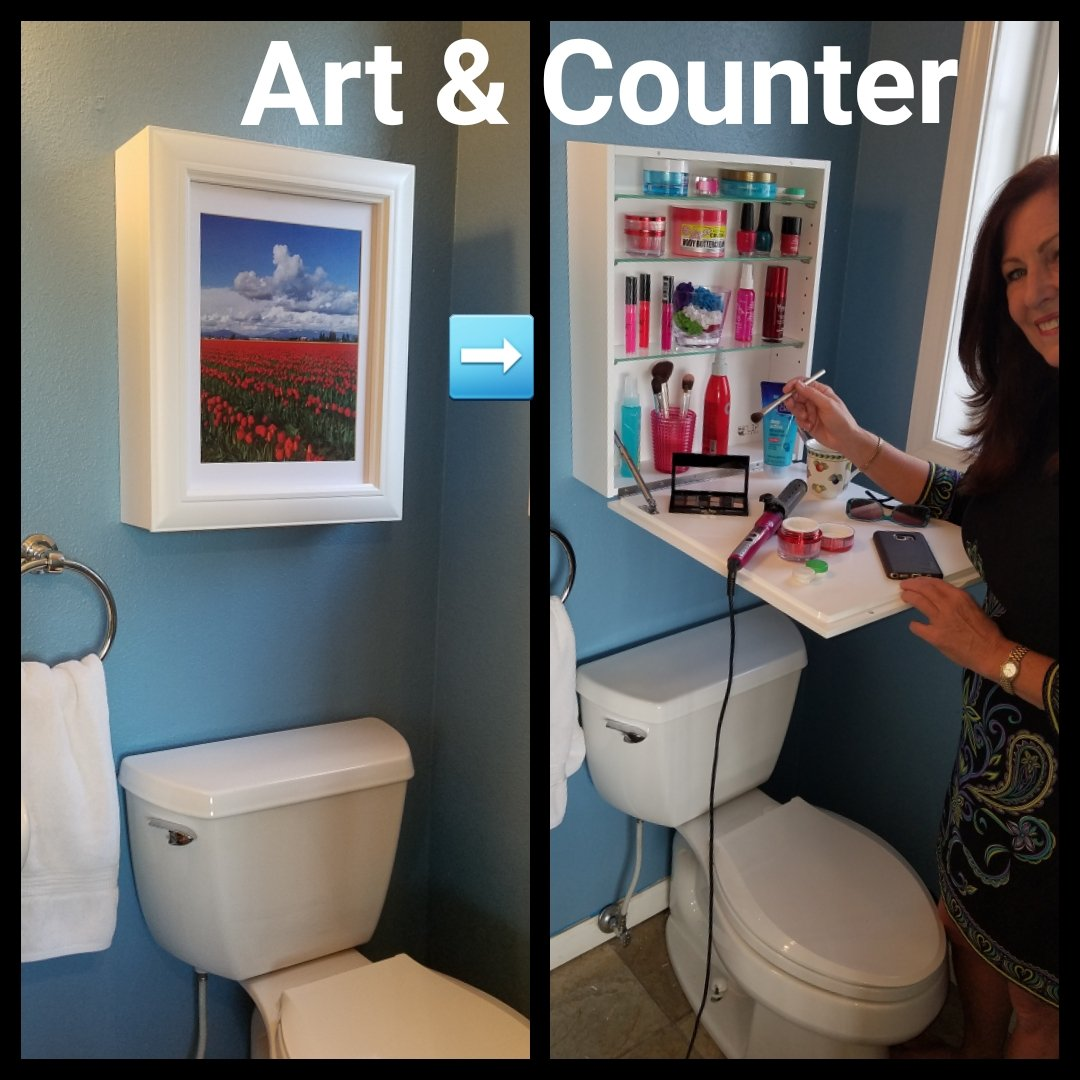ART to COUNTER - Holiday Special (1) Instant Counter-Top (2) Hidden Storage (3) Easy to Change Art. USES: Cosmetics, Medicine Cabinet, Spices, Office Supplies. Clear Clutter - Space Saver. White by Flip Frame