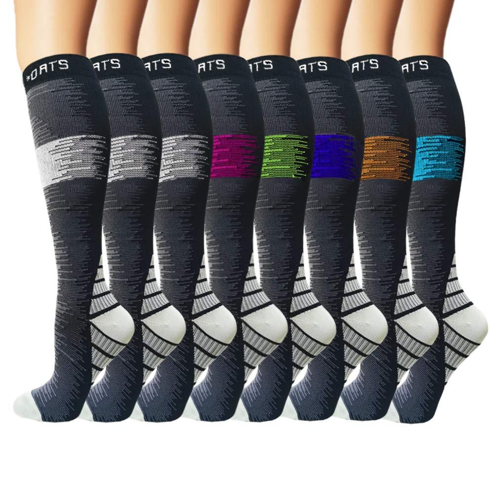 Iseasoo 7 Pack Copper Knee High Compression Socks for Men & Women-Best for Running,Athletic,Medical,Pregnancy and Travel -15-20mmHg (S/M, Multicoloured 5) by Iseasoo