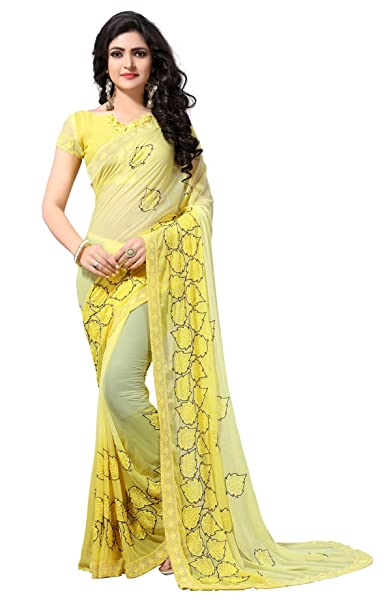 dc972125866 Fab Valley Women Georgette Heavy Latest Designer Embroidery Party Wear  Party Wear Fancy Saree SareeWith Blouse Piece (Yellow)  Amazon.in  Clothing    ...