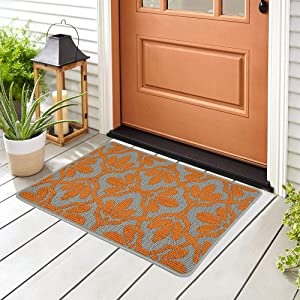 """Doormat Outdoor Indoor Home Mat Non Slip Waterproof Washable Quickly Absorb Moisture and Resist Dirt Rugs for Door Entrance, Kitchen, Flat and Office (24"""" x 36"""", Leaves 3)"""
