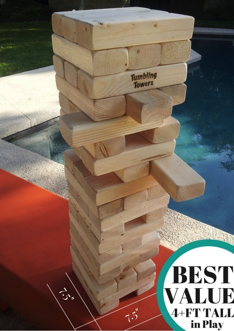 Giant Tumbling Towers Game Blocks up to 4+FT to +5FT & Includes Wooden Case