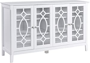 HOMCOM Wood Accent Sideboard Buffet Serving Storage Cabinet with 4 Framed Glass Doors Entryway Kitchen Dining Console Living Room, Adjustable Shelves, White