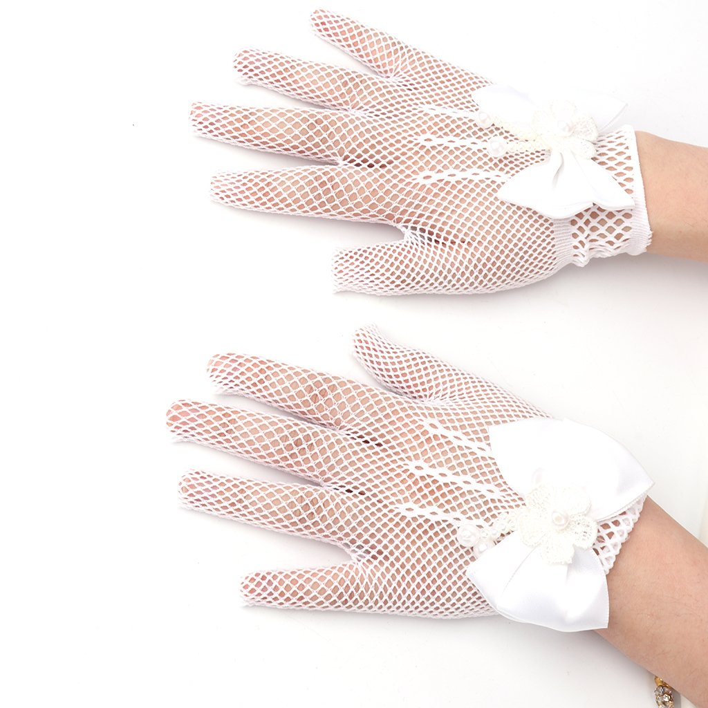 Redriver New flower Girls Gorgeous Satin Fancy Gloves for Occasion Dress Formal Wedding Pageant Party Short