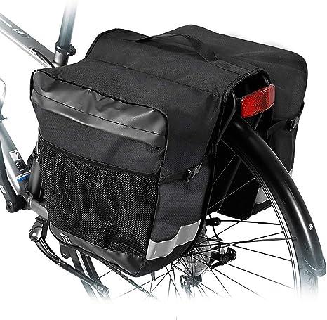 Alforjas para Bicicleta 28L Bolsas Bicicletas Traseras Bolsa Sillín Doble para Bicicleta Alforjas para Portaequipajes de Bicicleta Asiento Trasero Pannier Bag Impermeable para MTB Bicicleta Carretera: Amazon.es: Deportes y aire libre