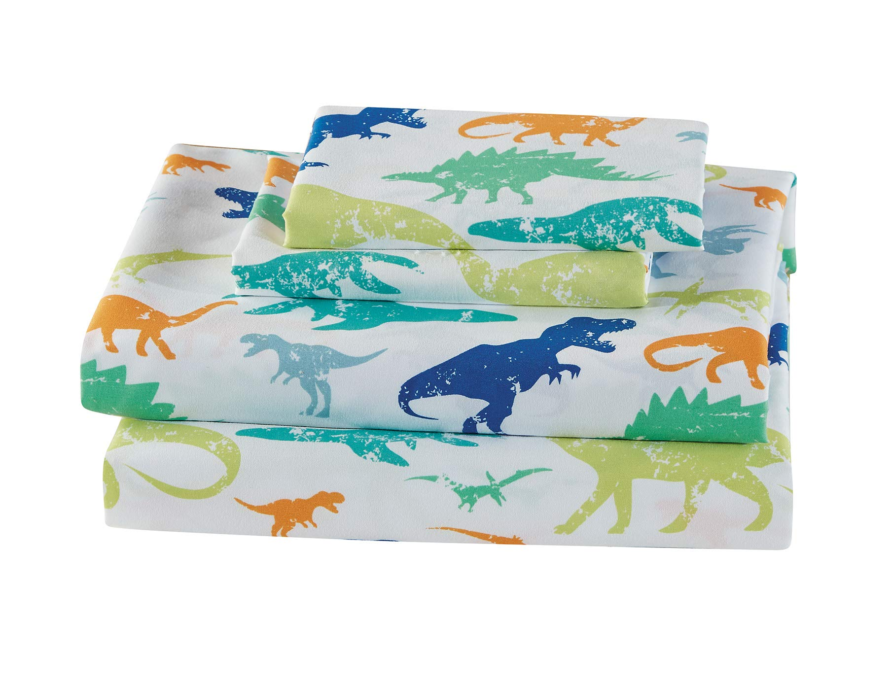 Mk Home 4pc Full Size Sheet Set for Boys Dinosaurs Green Blue Orange White New