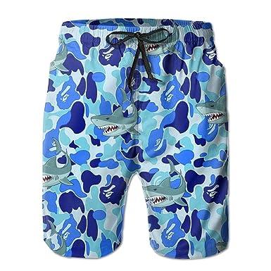 Blue Camo Shark Beach Shorts For Men  b8e6df33c6d