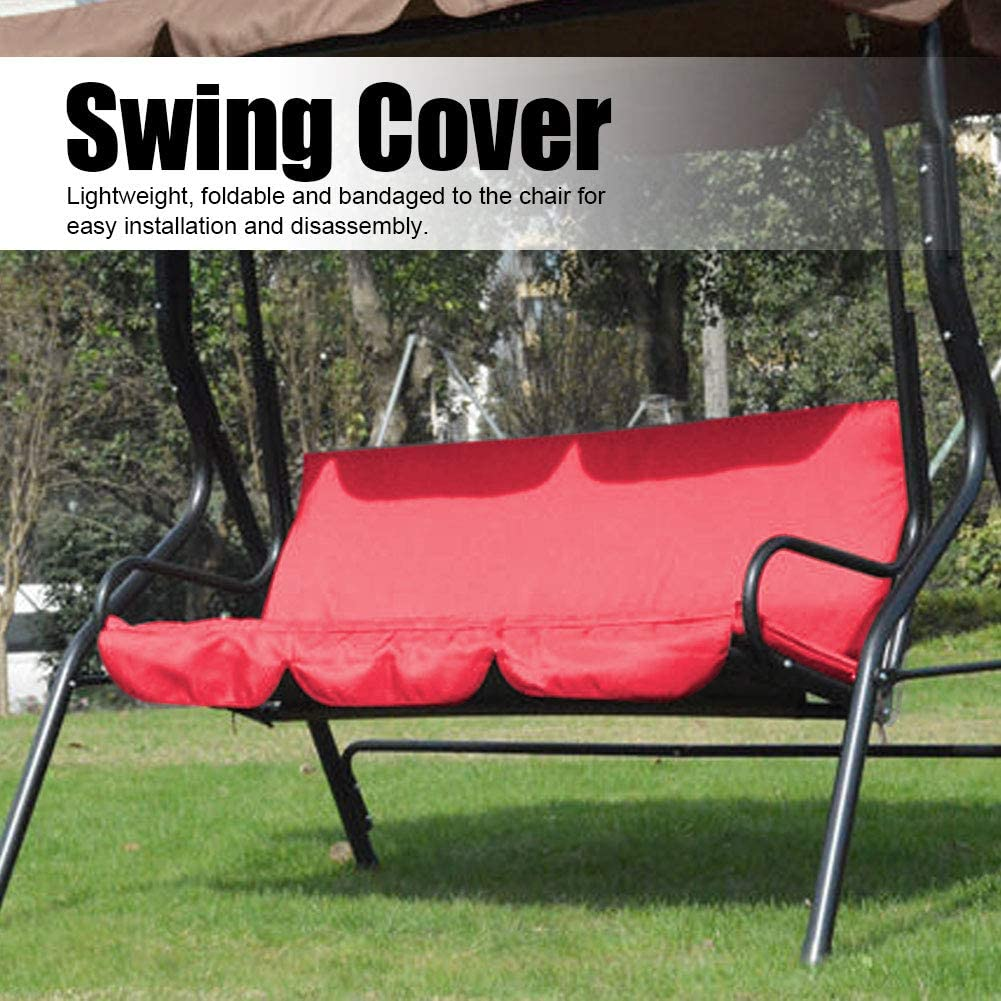 Black Upgraded Swing Seat Cover Waterproof Chair Cover Patio Swing Cover Replacement Hammock Protection Cover for 3-Seat Swing Chair Outdoor