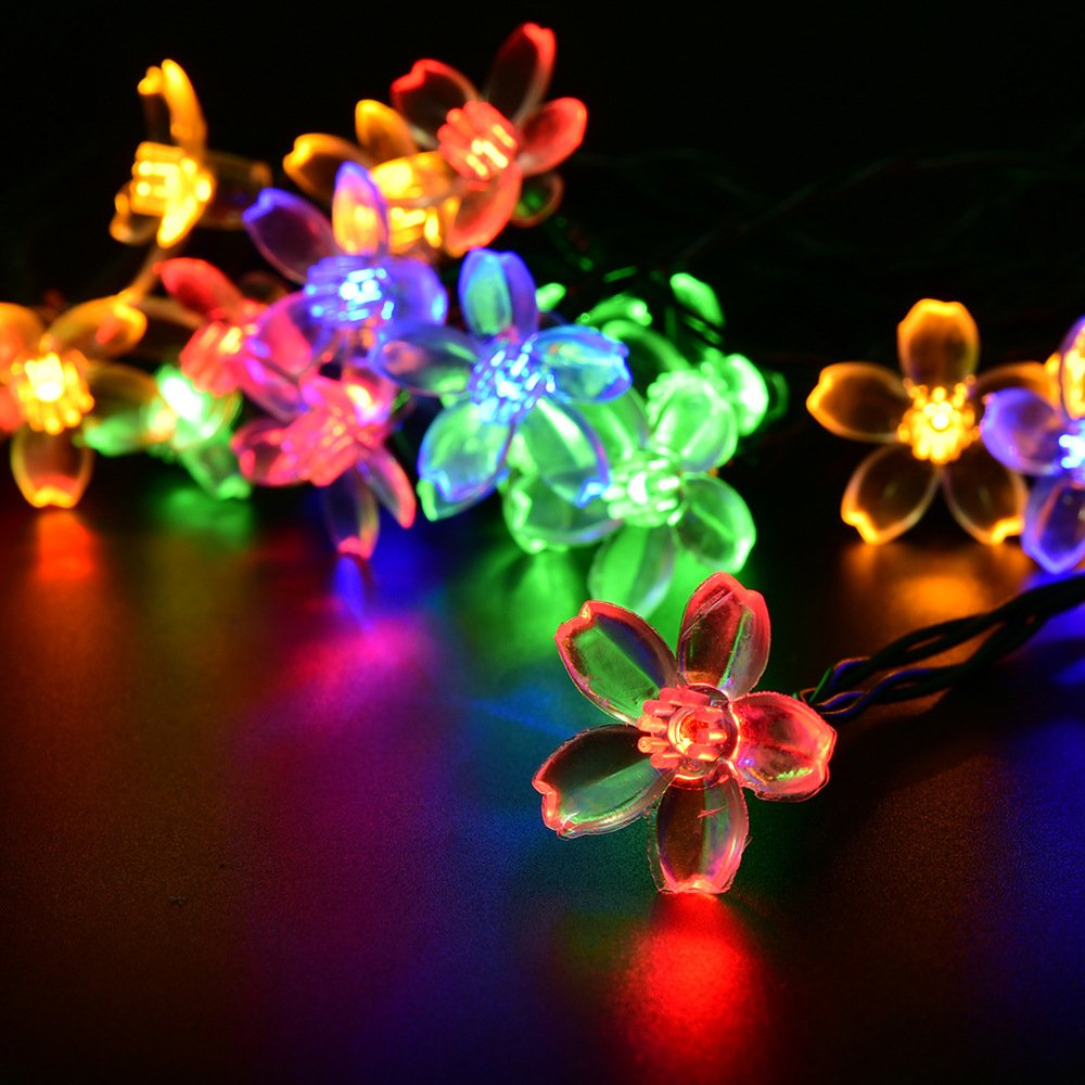White And Colored Christmas Lights Part - 45: Amazon.com : LightsEtc 15.7 Feet 20 LED Multi Color Solar Blossom String  Lights For Garden, Holiday Decoration : Patio, Lawn U0026 Garden