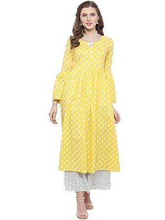bcf854aed61 Sera Women s Ethnic Wear yellow Printed Bell sleeve Kurta Round Neck Three-Quarter  Sleeves Calf Length Kurta  Amazon.in  Clothing   Accessories
