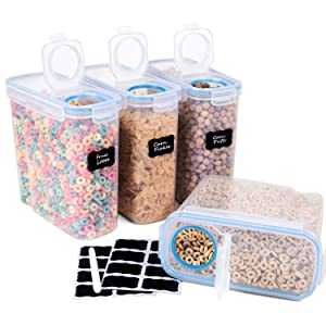 Cereal Container Airtight Lid Large Dry Cereal Storage Containers Set of 4 (16.9 Cup 135.2oz) BPA Free Plastic Cereal Keeper - FOOYOO